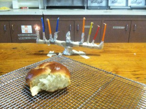 yummy challah bread and our co-op(ted) menorah